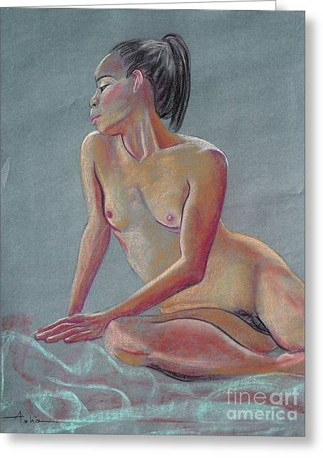 Asha Carolyn Young Drawing Pastels Greeting Cards - Petite Woman with a Ponytail Greeting Card by Asha Carolyn Young