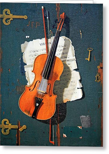 1907 Greeting Cards - Petos The Old Violin Greeting Card by Cora Wandel