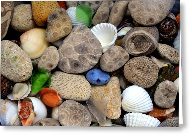 Glass.blue Greeting Cards - Petoskey Stones lll Greeting Card by Michelle Calkins