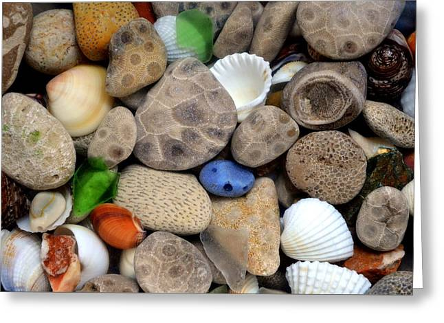 Upper Peninsula Greeting Cards - Petoskey Stones lll Greeting Card by Michelle Calkins
