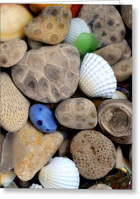 Upper Peninsula Greeting Cards - Petoskey Stones V Greeting Card by Michelle Calkins