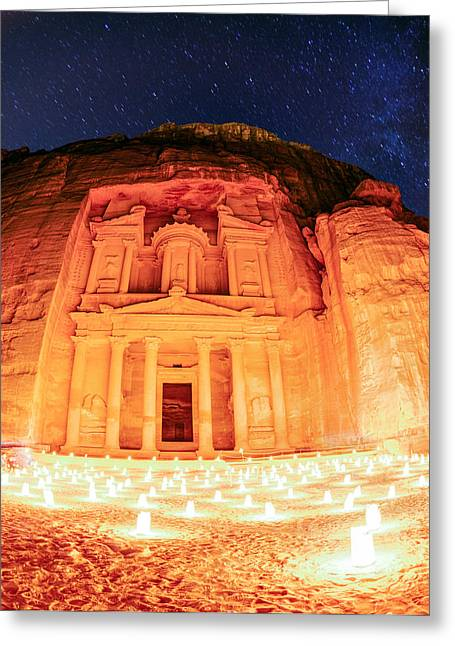 Petra Greeting Cards - Petra by night Greeting Card by Alexey Stiop