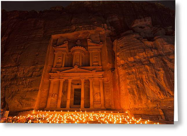 Petra Greeting Cards - Petra By Night Greeting Card by Yves Gagnon