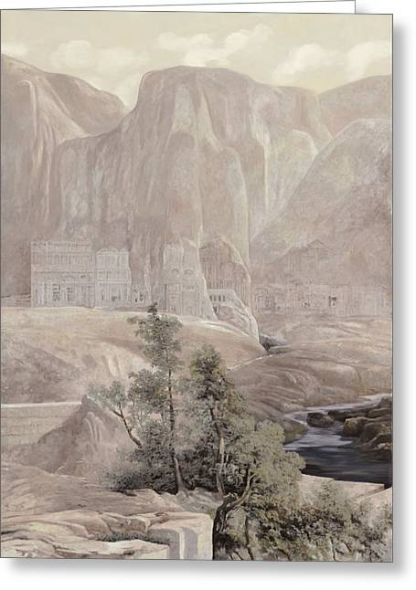 Orientalism Greeting Cards - Petra Greeting Card by Guido Borelli