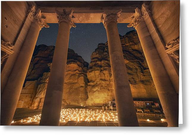 Petra Greeting Cards - Petra Inside the Temple Greeting Card by Jimmy McIntyre