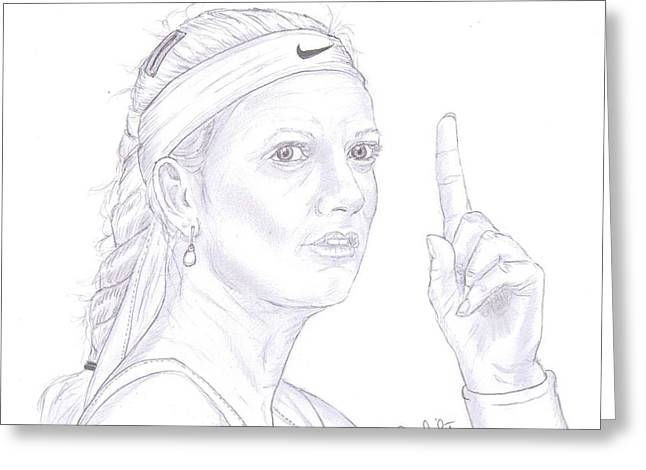 Wimbledon Drawings Greeting Cards - Petra Kvitova Greeting Card by Steven White