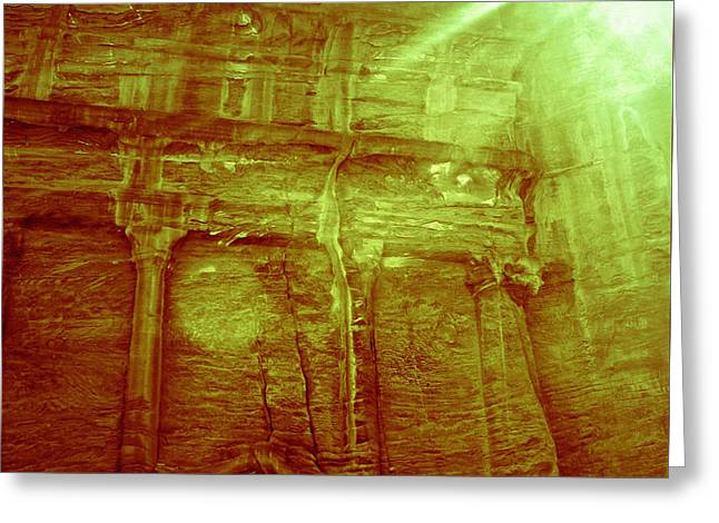 Petra Light Show Greeting Card by Callan Percy