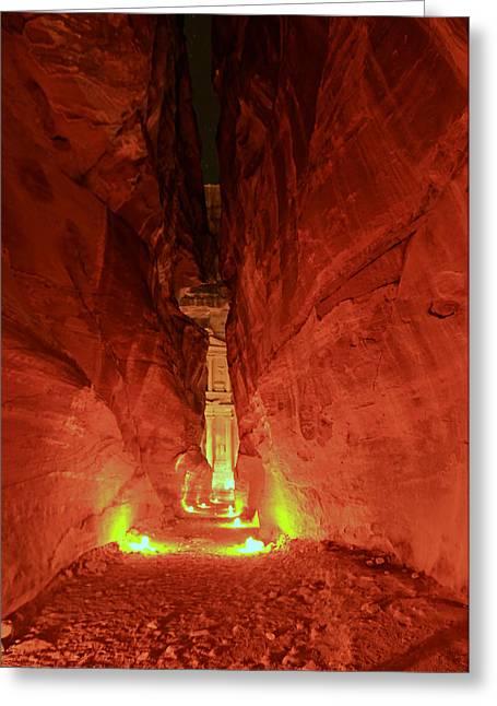 Jordan Greeting Cards - Petra Night Journey Greeting Card by Stephen Stookey