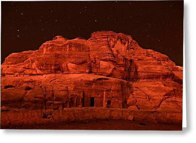 Jordan Greeting Cards - Petra Nights Greeting Card by Stephen Stookey