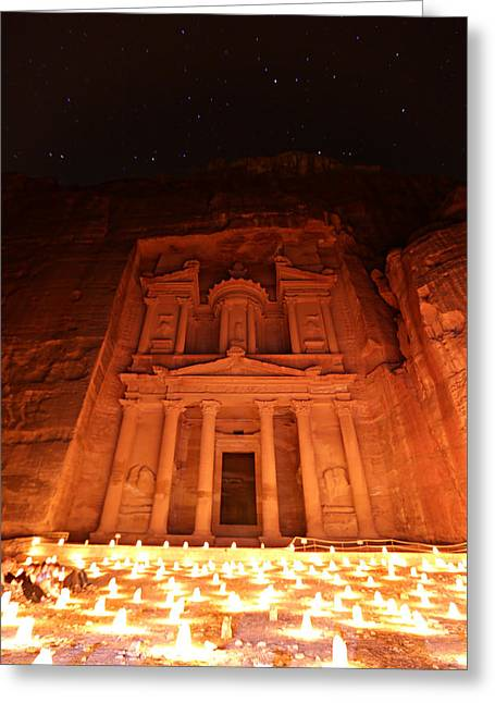 Khazneh Greeting Cards - Petra Treasury at Night Greeting Card by Stephen Stookey