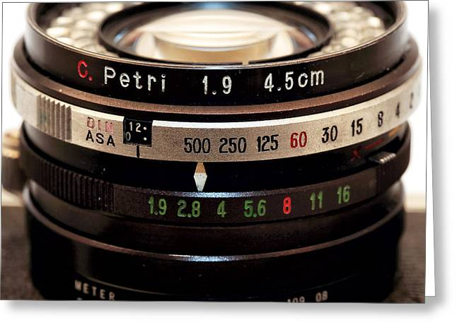 Rangefinder Greeting Cards - Petri 1.9 Lens Greeting Card by John Rizzuto