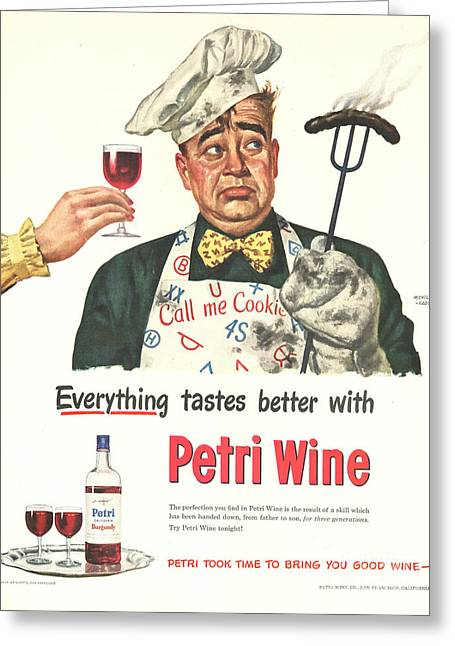 Twentieth Century Greeting Cards - Petri Wine 1940s Usa Cooking  Bbq Greeting Card by The Advertising Archives