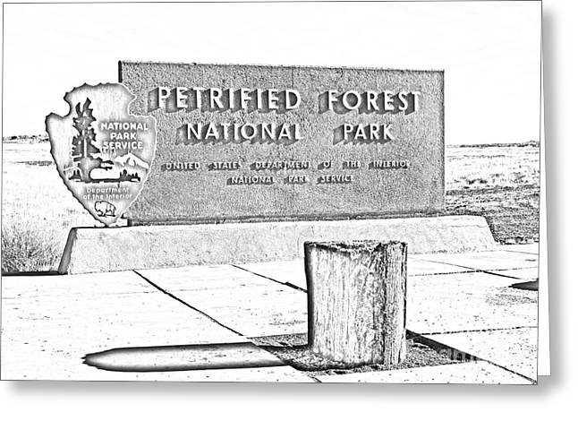 Petrified Forest Greeting Cards - Petrified Forest National Park Entrance Sign Black and White Line Art Greeting Card by Shawn O