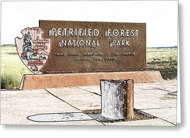 Petrified Forest Greeting Cards - Petrified Forest National Park Entrance Sign Colored Pencil Greeting Card by Shawn O