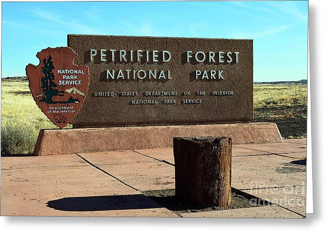 Petrified Forest Greeting Cards - Petrified Forest National Park Entrance Sign Poster Edges Greeting Card by Shawn O