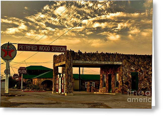 Petrified Greeting Cards - Petrified Gas Station Greeting Card by Robert Frederick