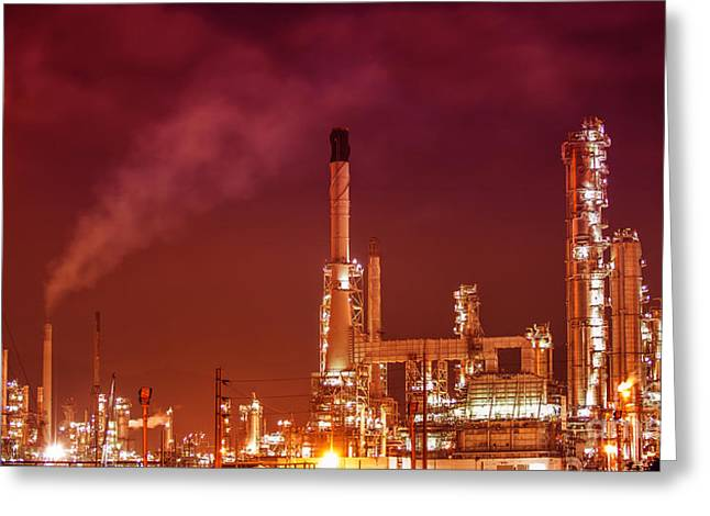 Manufacturing Greeting Cards - Petrochemical oil refinery plant  Greeting Card by Anek Suwannaphoom