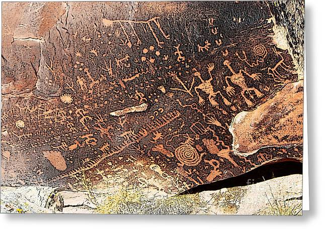 Petrified Forest Greeting Cards - Petroglyphs on Newspaper Rock Petrified Forest National Park Poster Edges Closeup Greeting Card by Shawn O