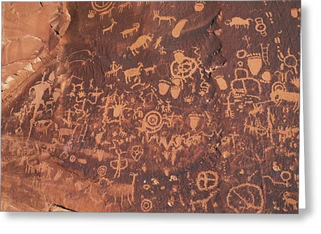 Newspaper Rock Sandstone Greeting Cards - Petroglyphs On Newspaper Rock, Utah Greeting Card by Panoramic Images