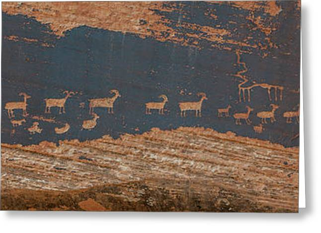 Petroglyphs On Rock, Hunter Panel Greeting Card by Panoramic Images