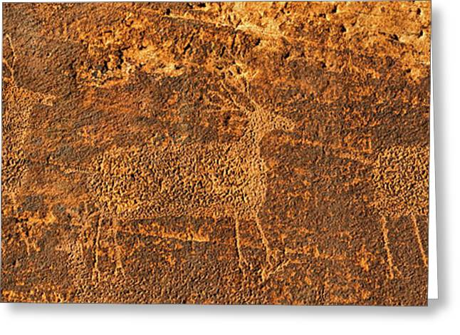 Petroglyphs On Sandstone, Arches Greeting Card by Panoramic Images