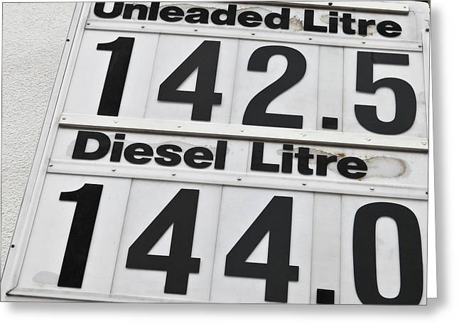 Gallons Greeting Cards - Petrol prices Greeting Card by Tom Gowanlock