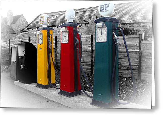 Roberto Alamino Greeting Cards - Petrol Station Greeting Card by Roberto Alamino