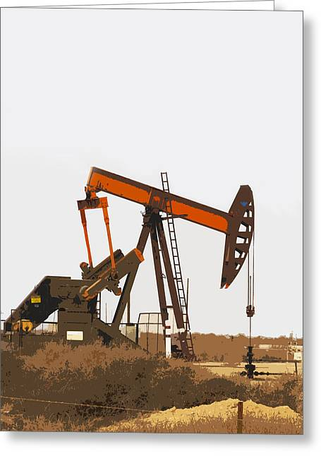 Pumping Unit Greeting Cards - Petroleum Pumping Unit Greeting Card by Art Block Collections