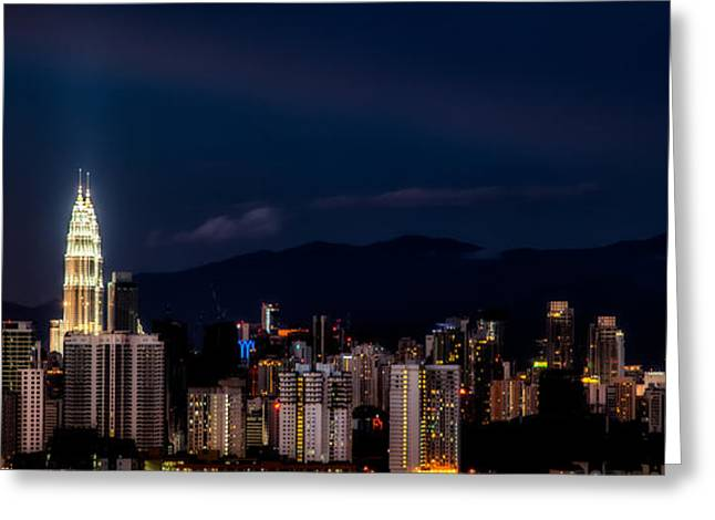 Twin Towers Greeting Cards - Petronas Lights Greeting Card by Adrian Evans