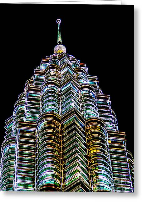 Twin Towers Greeting Cards - Petronas Tower Greeting Card by Adrian Evans