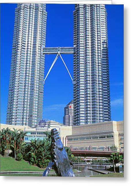 Highrises Greeting Cards - Petronas Towers Kuala Lumpur Malaysia Greeting Card by Panoramic Images