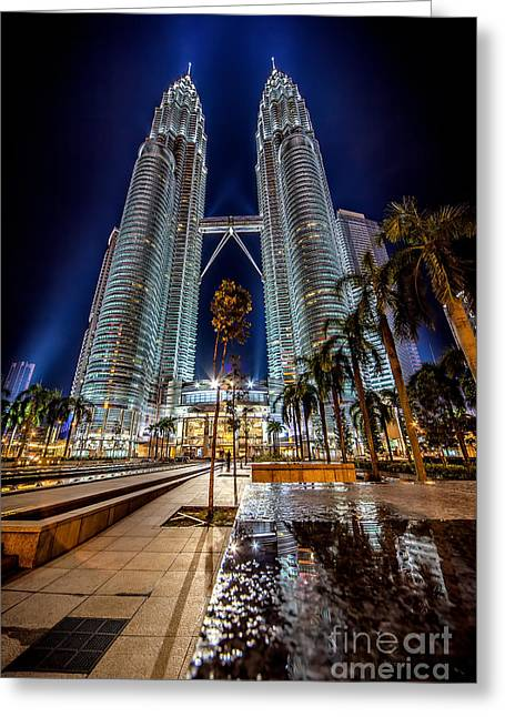 Nightshot Greeting Cards - Petronas Twin Towers Greeting Card by Adrian Evans