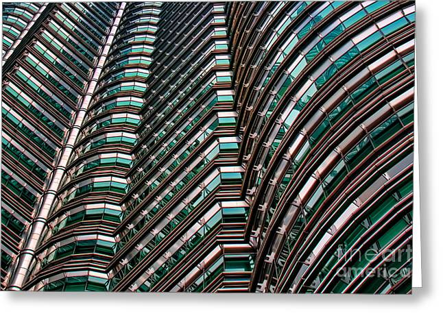 Asien Greeting Cards - Petronas Twin Towers close up Greeting Card by Joerg Lingnau