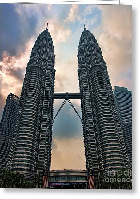 Asien Greeting Cards - Petronas Twin Towers Greeting Card by Joerg Lingnau