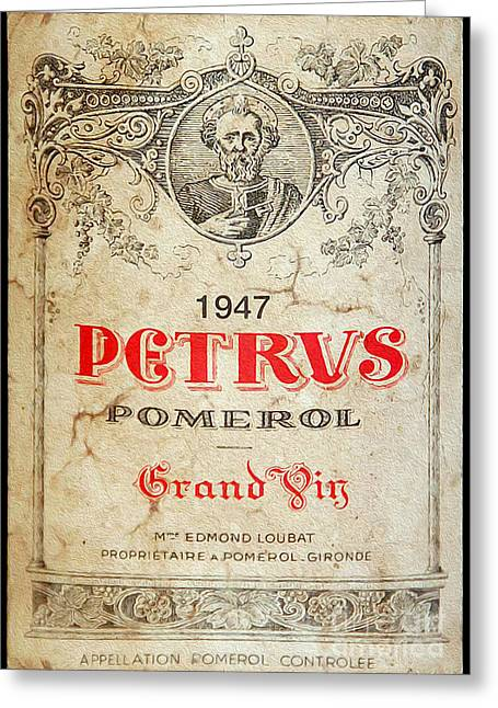 Label Photographs Greeting Cards - Petrus Wine  Greeting Card by Jon Neidert