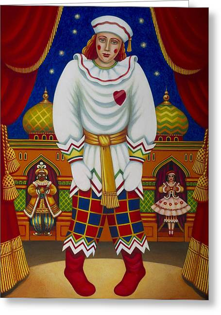 Jesters Puppet Greeting Cards - Petrushka, 2011 Oils & Tempera On Panel Greeting Card by Frances Broomfield
