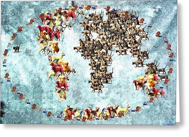 Pets World Map Greeting Card by Daniel Janda