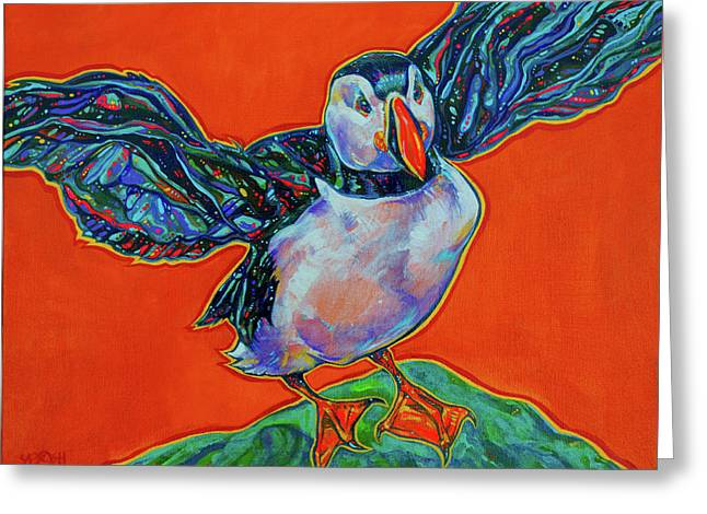 Vivid Colour Paintings Greeting Cards - Petty Harbour Puffin Greeting Card by Derrick Higgins