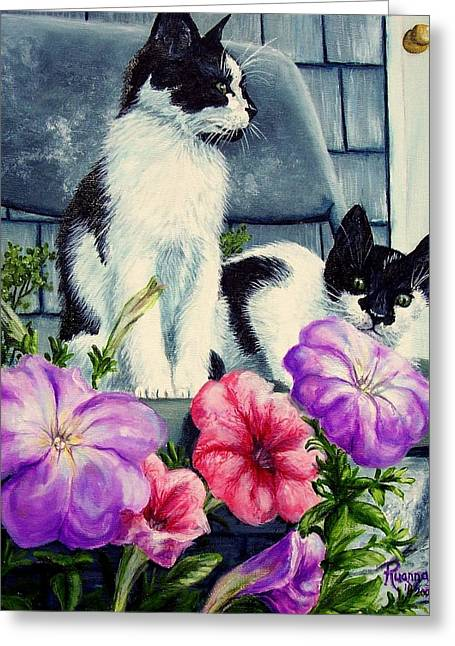 House Pet Greeting Cards - Petunia Kittens Greeting Card by Ruanna Sion Shadd a