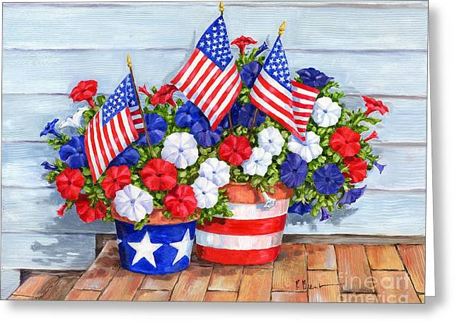 Patriotic Flag Greeting Cards - Petunias and Flags Greeting Card by Paul Brent