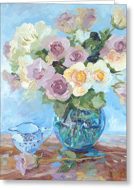 Pewter Jug Greeting Cards - Pewter and Cream Roses in Murano Vase Greeting Card by Elinor Fletcher