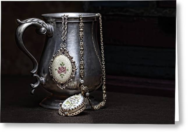 Jewelery Greeting Cards - Pewter Cup Still Life Greeting Card by Tom Mc Nemar