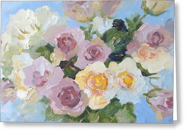 Pewter Jug Greeting Cards - Pewter Pink and Yellow Roses.  A close-up study. Greeting Card by Elinor Fletcher