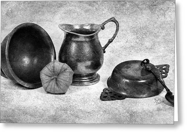 Old Pitcher Greeting Cards - Pewter Still Life in Black and White Greeting Card by Betty Denise