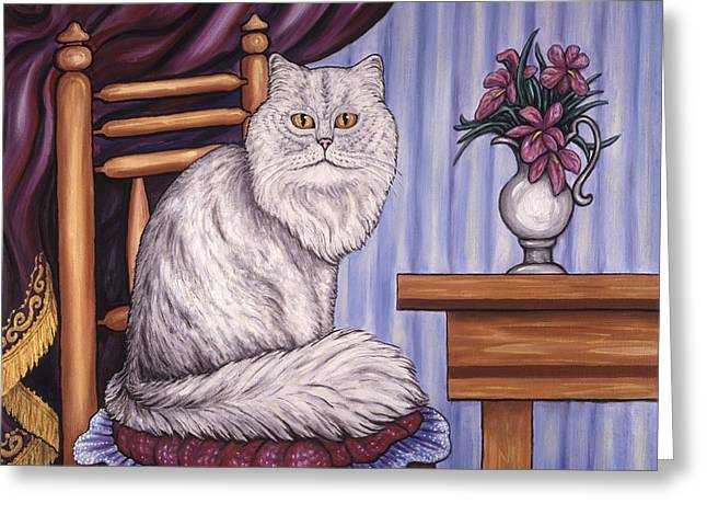 Kittens Greeting Cards - Pewter the Cat Greeting Card by Linda Mears