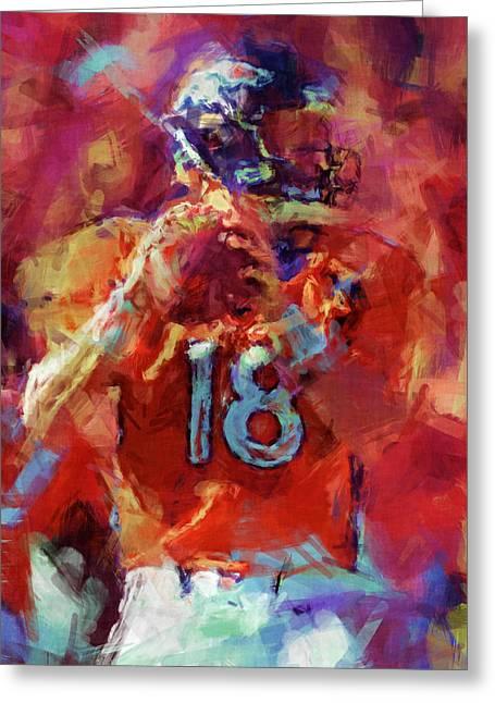 Sports Digital Art Greeting Cards - Peyton Manning Abstract 3 Greeting Card by David G Paul