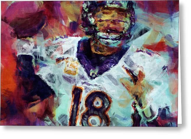 Peyton Manning Abstract 6 Greeting Card by David G Paul