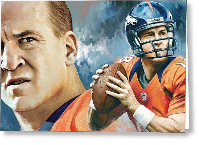 Nfl Mixed Media Greeting Cards - Peyton Manning Artwork Greeting Card by Sheraz A
