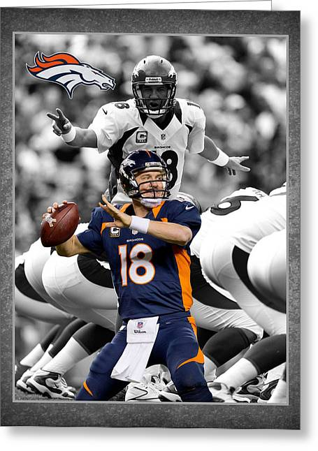 Denver Greeting Cards - Peyton Manning Broncos Greeting Card by Joe Hamilton