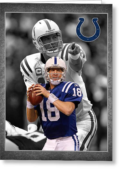 Peyton Manning Greeting Cards - Peyton Manning Colts Greeting Card by Joe Hamilton
